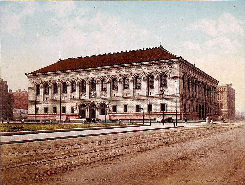 Postcard of the Boston Public Library, 1909. Image via Wikimedia Commons.