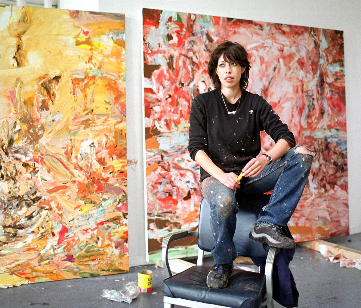 Cecily Brown in her studio, New York, 2001. Photo by Dave Howells. Courtesy of Gagosian.