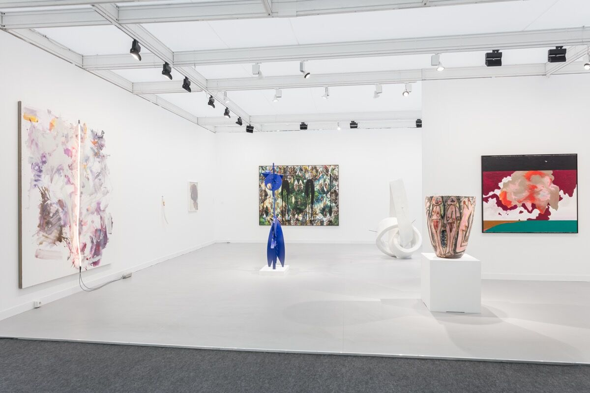 Installation view of David Kordansky Gallery's booth at FIAC, 2017. Photo by Mark Blower. Courtesy of David Kordansky Gallery, Los Angeles, CA.