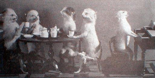Hermann Ploucquet, The Kittens at Tea — Miss Paulina Singing, 1851. Via Wikimedia Commons.