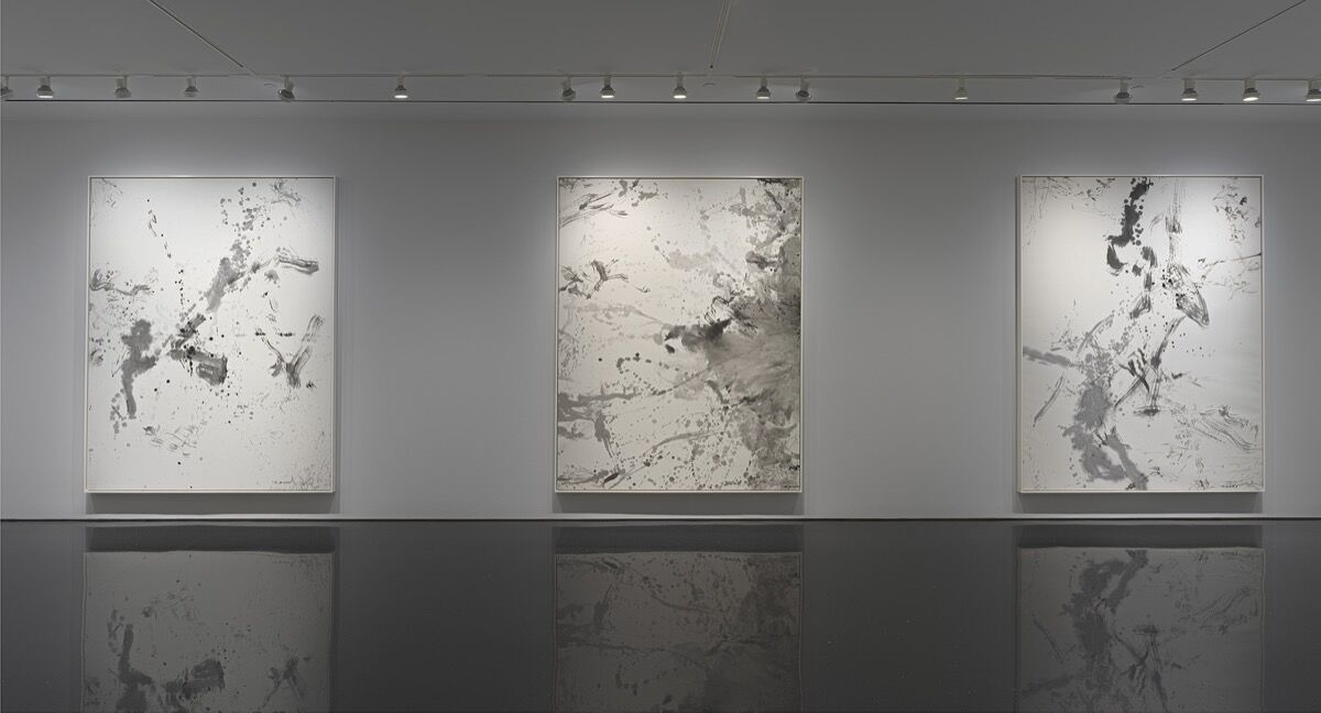 Installation view of Zao Wou-Ki, at Gagosian, 2019. Photo by Robert McKeever. © 2019 Artists Rights Society (ARS), New York / ProLitteris, Zurich. Courtesy of Gagosian.