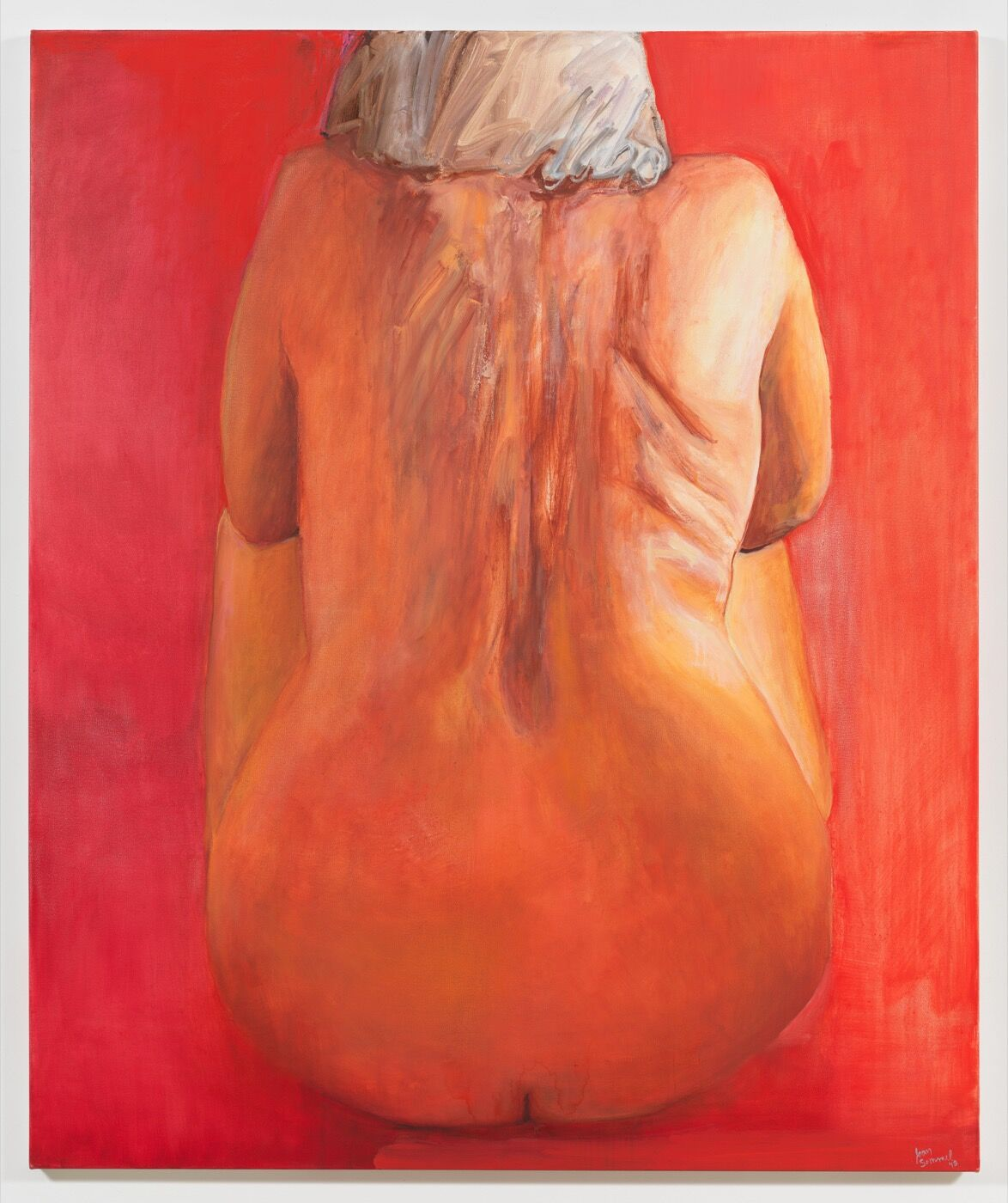 Joan Semmel, Seated in Red, 2018. © Joan Semmel/Artists Rights Society (ARS), New York. Courtesy Alexander Gray Associates, New York.