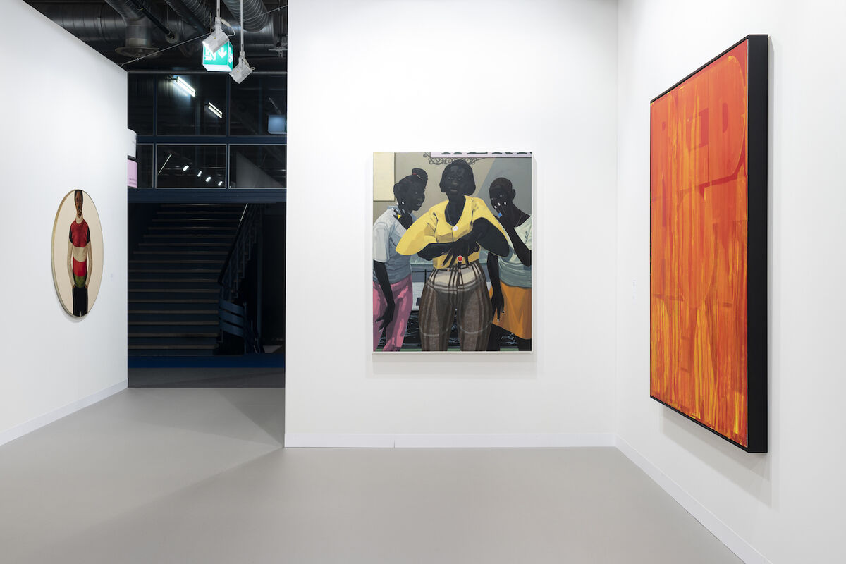 Installation view of Jack Shainman's booth at Art Basel, 2019, featuring Kerry James Marshall, Untitled, 2019, at center. Courtesy of the gallery.