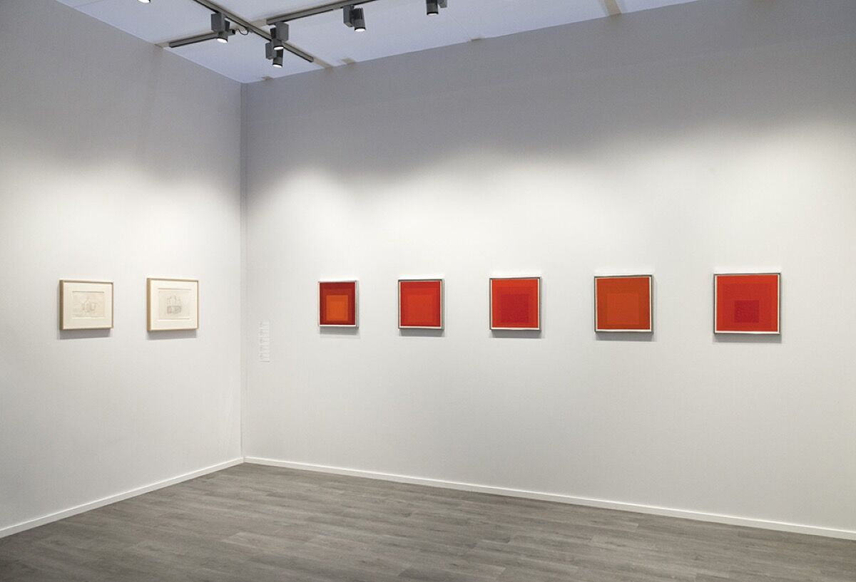 Installation view of David Zwirner's booth at TEFAF New York, featuring works by Josef Albers and Giorgio Morandi. Courtesy of David Zwirner.