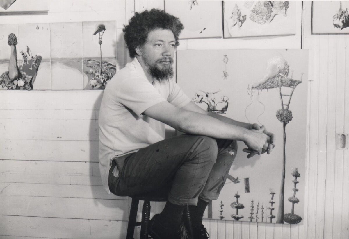 Benny Andrews in residence at the MacDowell Colony. Photo by Bernice B. Perry. Courtesy of the MacDowell Colony.