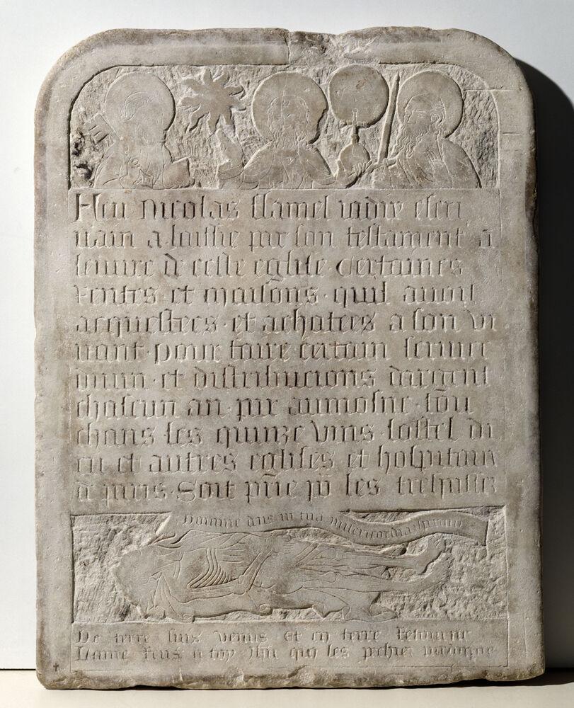 Tombstone of Nicolas Flamel Paris, 15th century. © Paris, Musée de Cluny - Musée national du Moyen Âge.