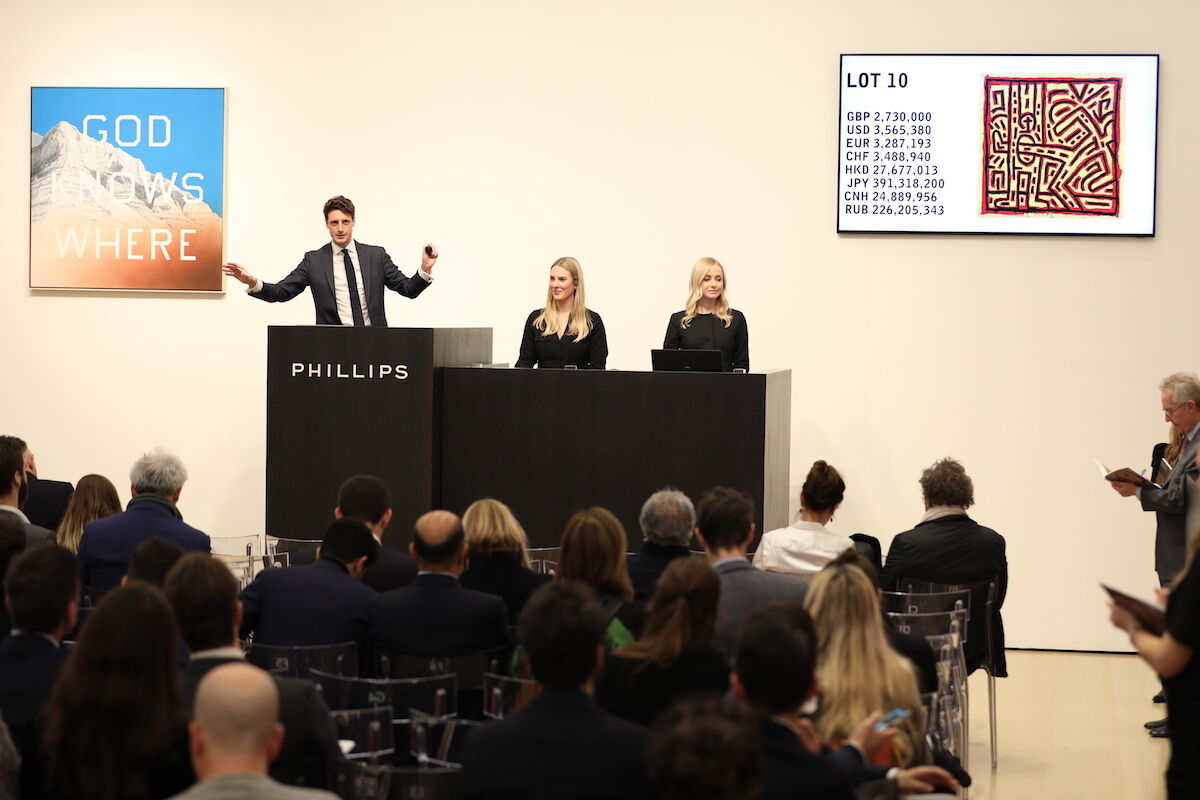 The salesroom during the February 13th evening auction at Phillips in London. Photo courtesy Phillips.