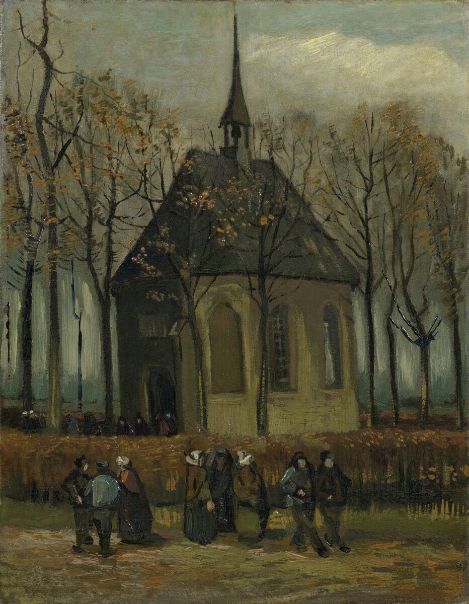 Vincent van Gogh, Congregation Leaving the Reformed Church in Nuenen, 1884–85.