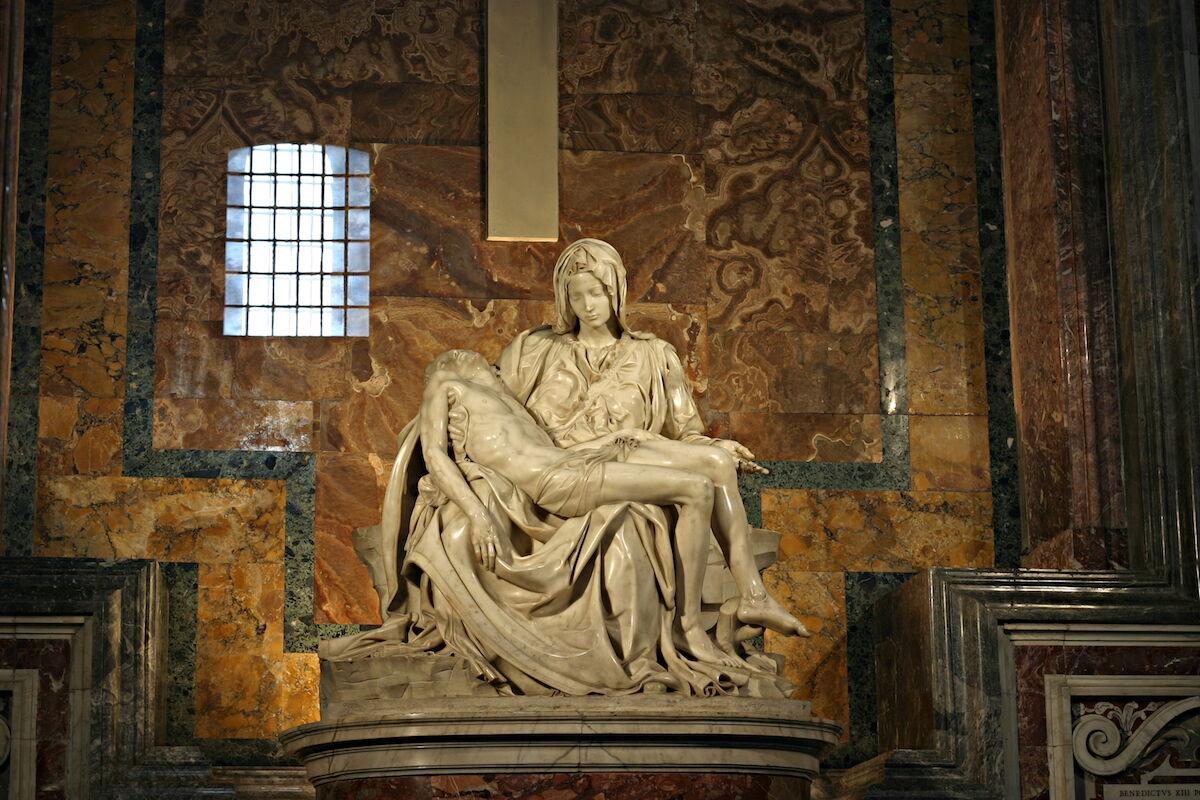 Michelangelo, Pietà, 1498–99. Photo by Stanislav Traykov, via Wikimedia Commons.