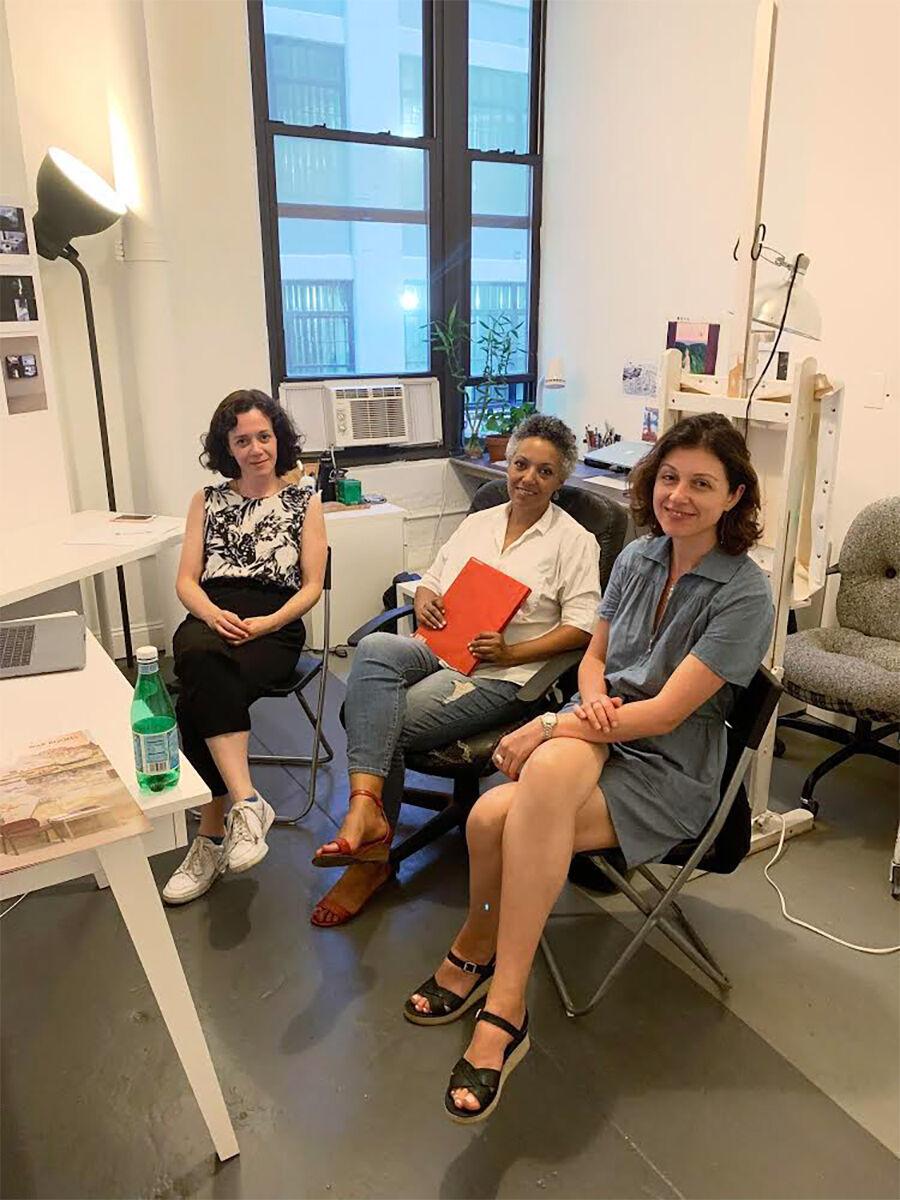 Portrait of Nadja Verena Marcin, Natascha Becker, and Yulia Topchiy in New York, 2019. © Kunstraum LLC & NVM Studio. Courtesy of Kunstraum LLC & NVM Studio.
