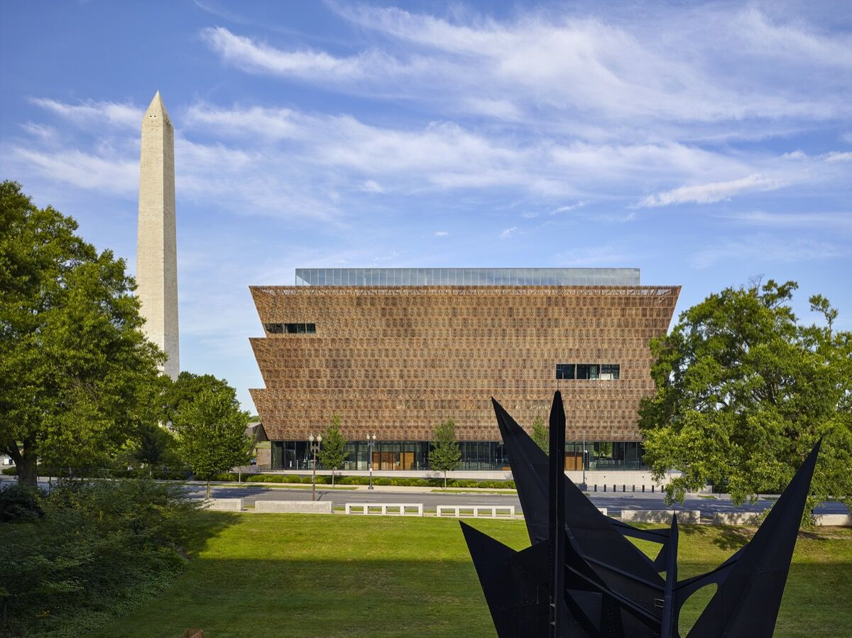 Exterior view of the Smithsonian National Museum of African American History and Culture. Photo by Alan Karchmer. Courtesy of the Smithsonian National Museum of African American History and Culture.