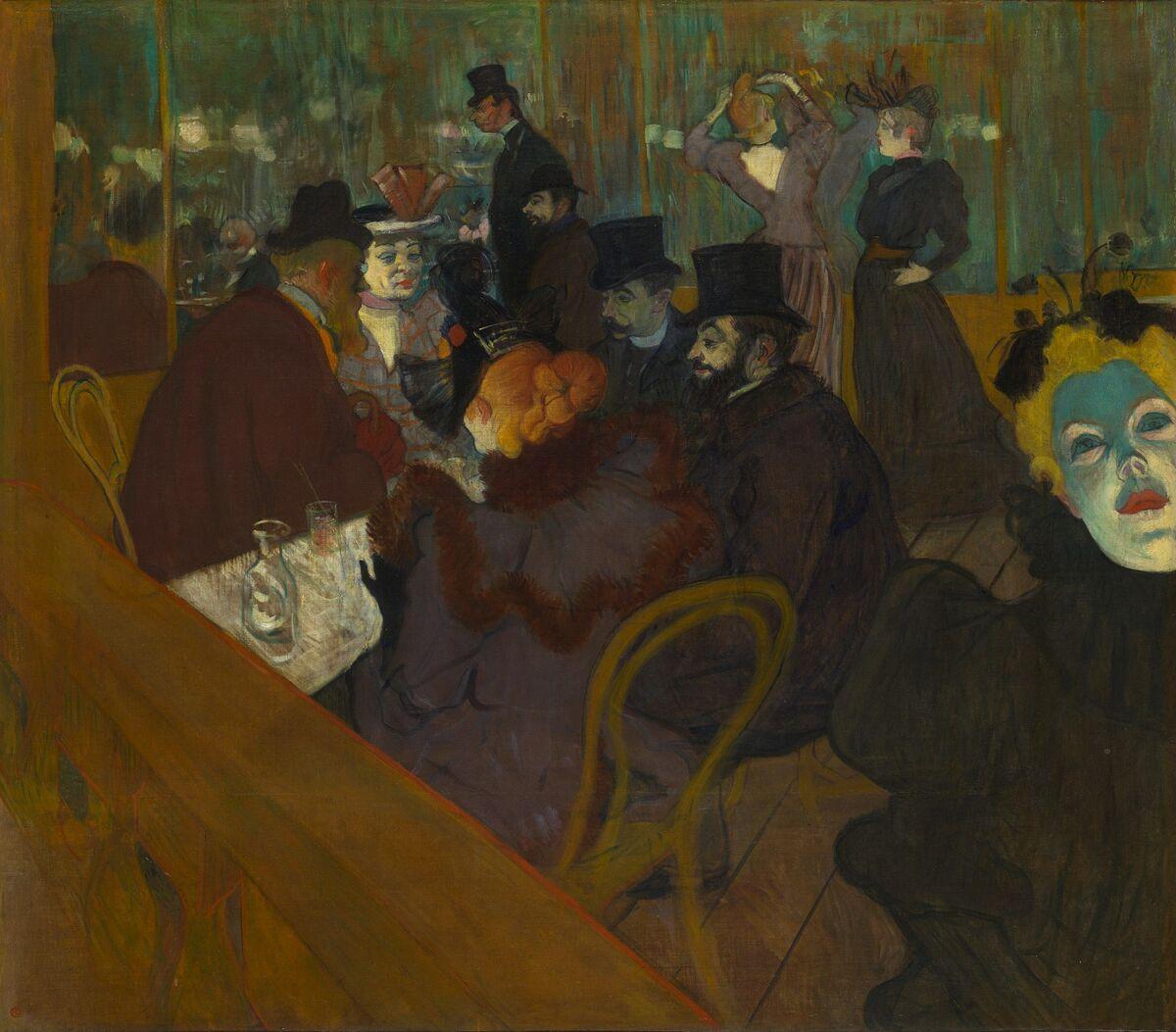 Henri de Toulouse-Lautrec, At the Moulin Rouge, 1892–95. Image via Wikimedia Commons.