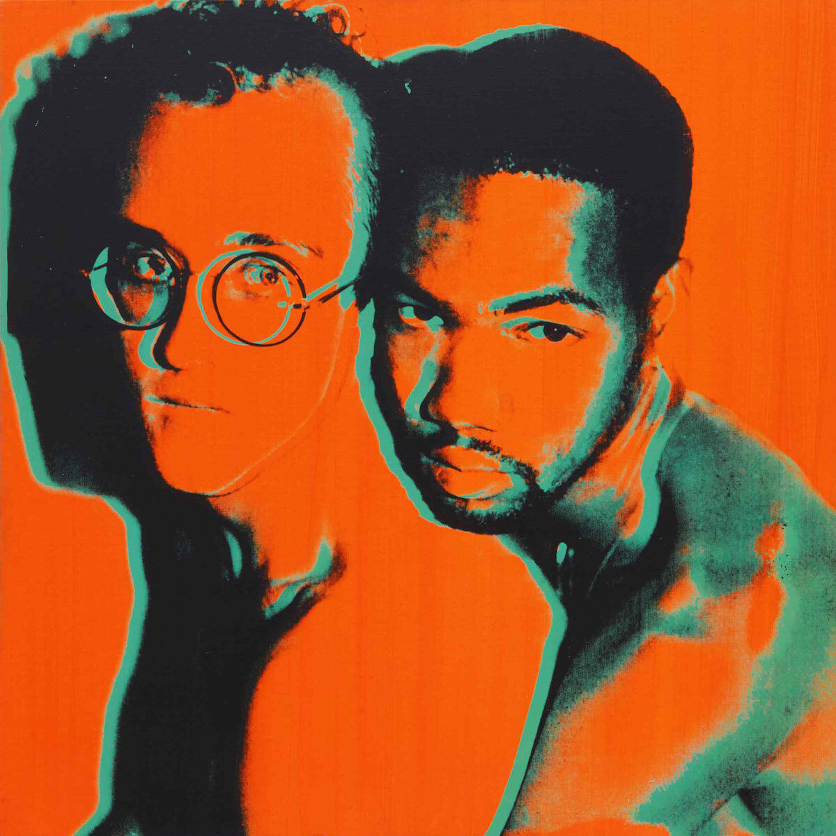 Andy Warhol, Portrait of Keith Haring and Juan DuBose, 1983. Est. $200,000–250,000. Courtesy Sotheby's.