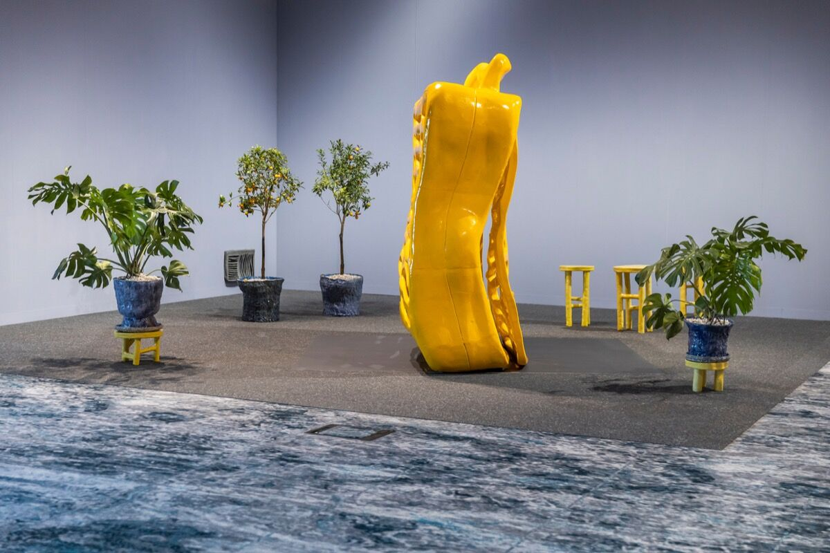Installation view of Woody De Othello, Cool Composition, 2019, in Jessica Silverman and Karma Gallerys' booth, at Art Basel in Miami Beach, 2019. Courtesy of Art Basel, Karma Gallery, and Jessica Silverman Gallery.
