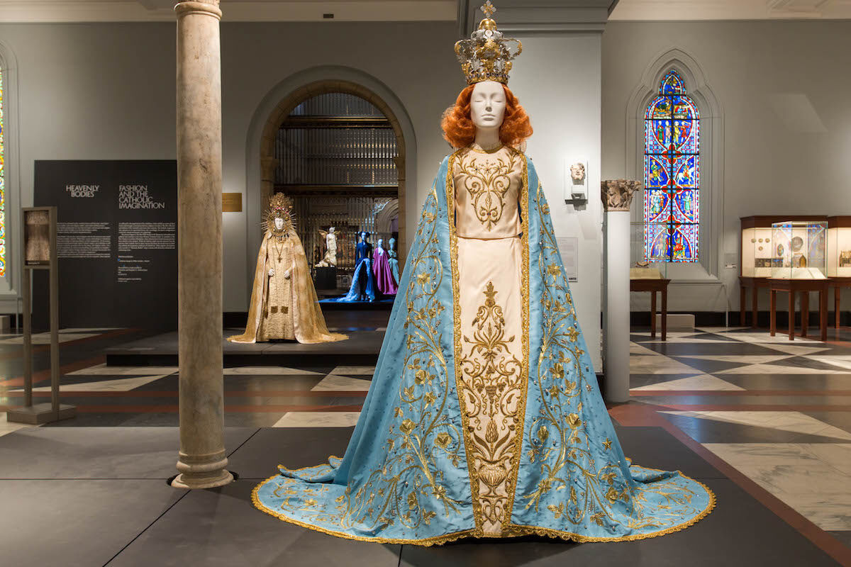 "View of ""Heavenly Bodies: Fashion and the Catholic Imagination"" in the Medieval Europe Gallery. Image © The Metropolitan Museum of Art."