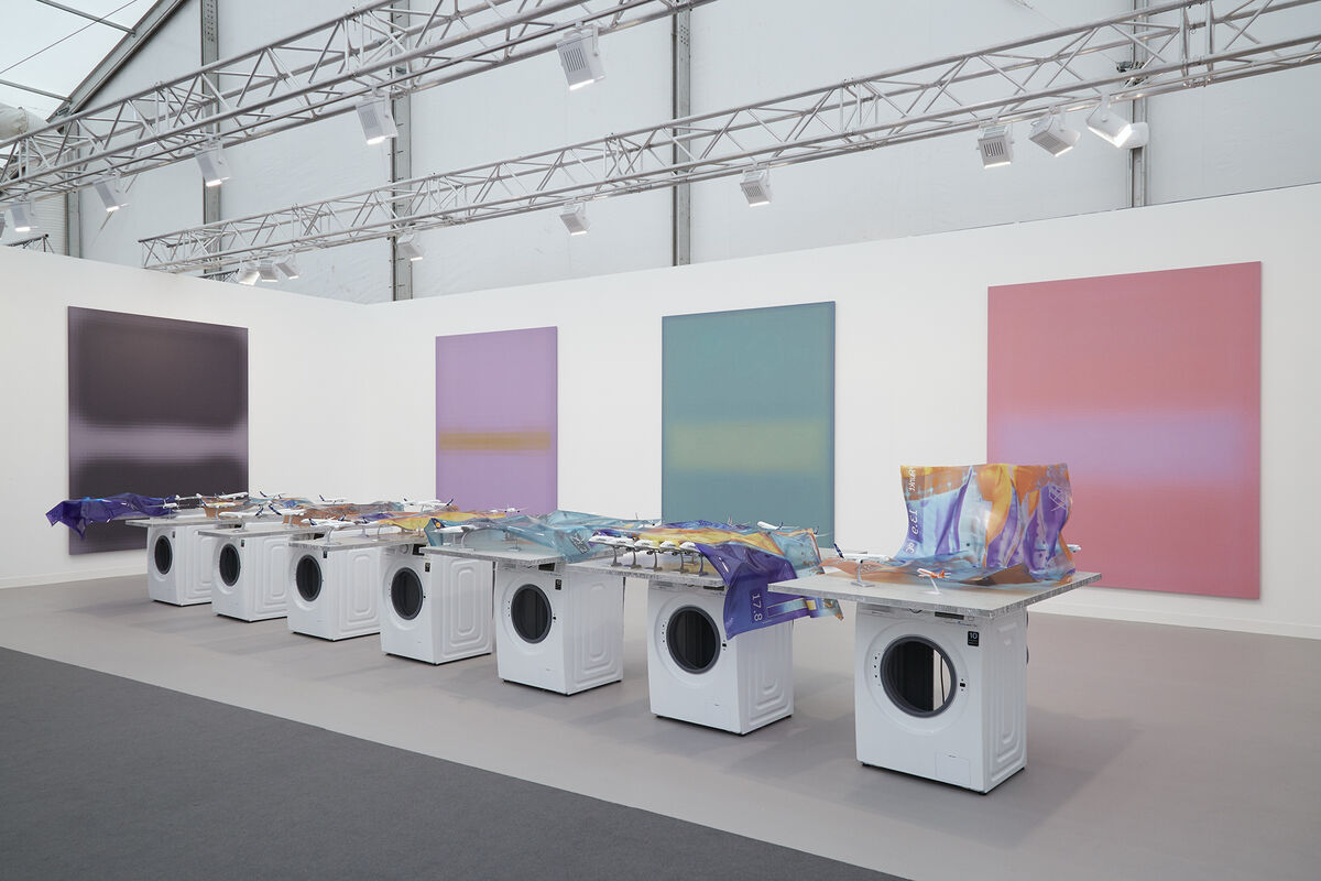Installation view of Stuart Shave/Modern Art at Frieze London, 2015. Photo by Benjamin Westoby for Artsy.