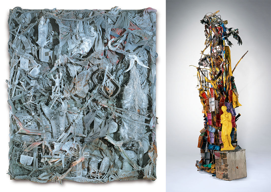 Left: Thornton Dial,Lost Farm (Billy Goat Hill), (2000). Collection of The Museum of Fine Arts, Houston. Right: Thornton Dial,The Art of Alabama (2004). Collection of Souls Grown Deep Foundation. Photos by Stephen Pitkin/Pitkin Studio. © Thornton Dial.