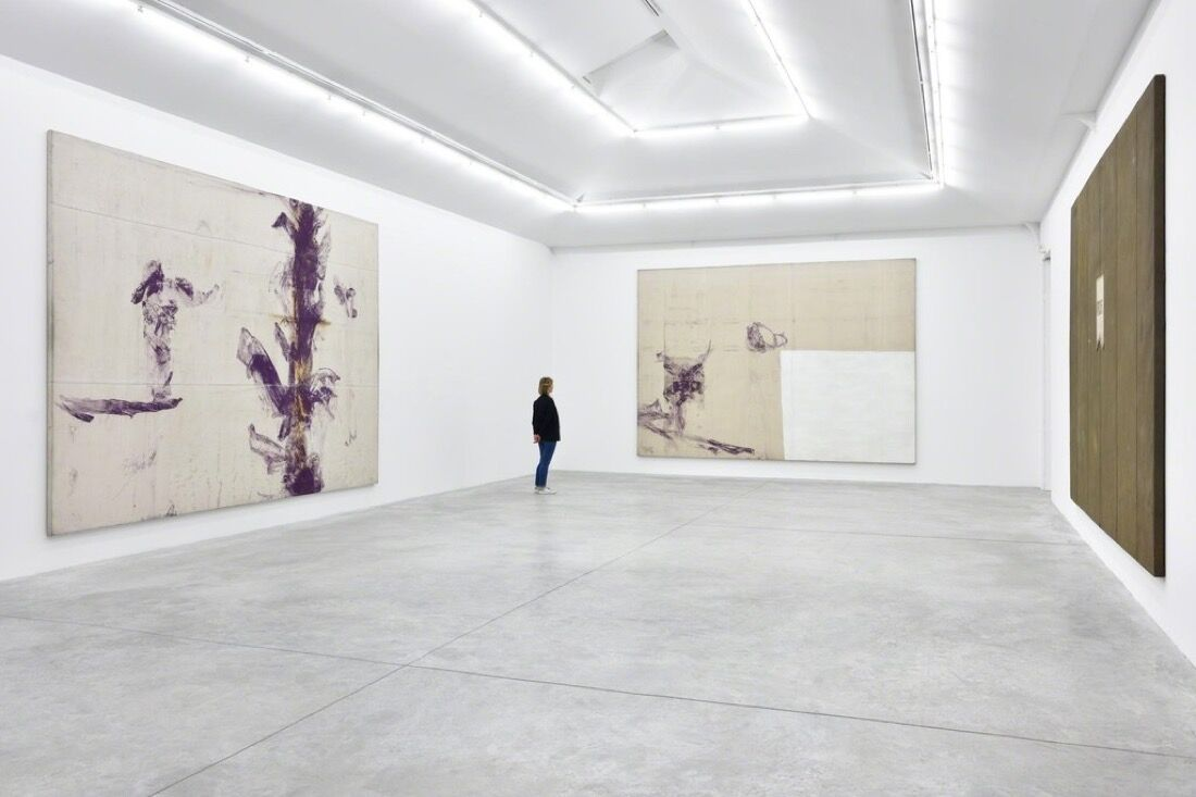 """Installation view ofJulian Schnabel's """"Jack Climbed Up The Beanstalk To The Sky Of Illimitableness Where Everything Went Backwards."""" Image courtesy of Almine Rech."""