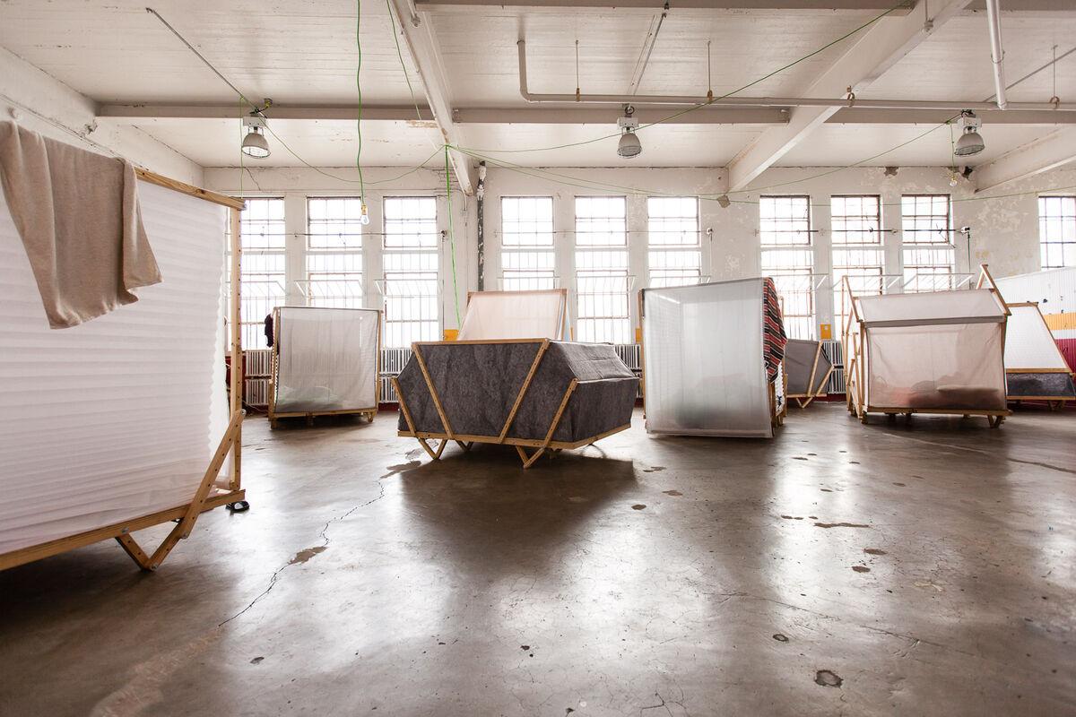 The pods where the Ideas City fellows slept.Photo by Marta Xochilt Perez for Artsy.