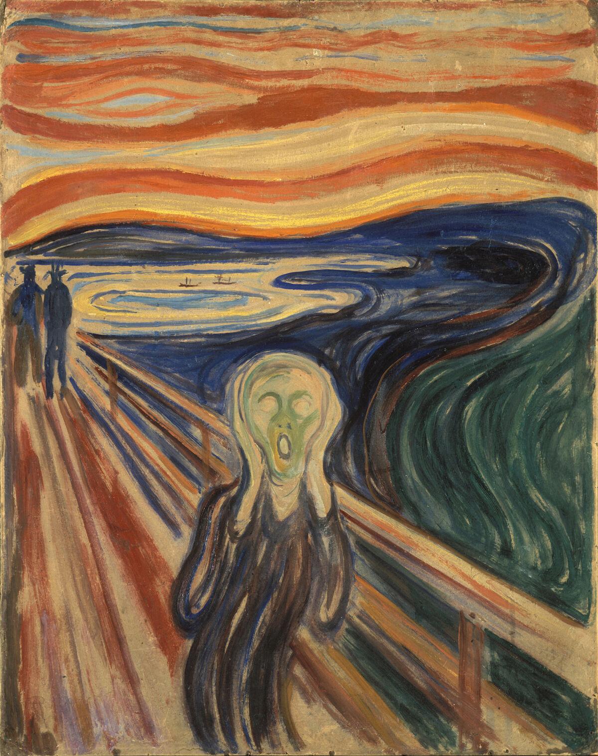 Edvard Munch, The Scream, 1910. Munch Museum, Oslo. Via Wikimedia Commons.