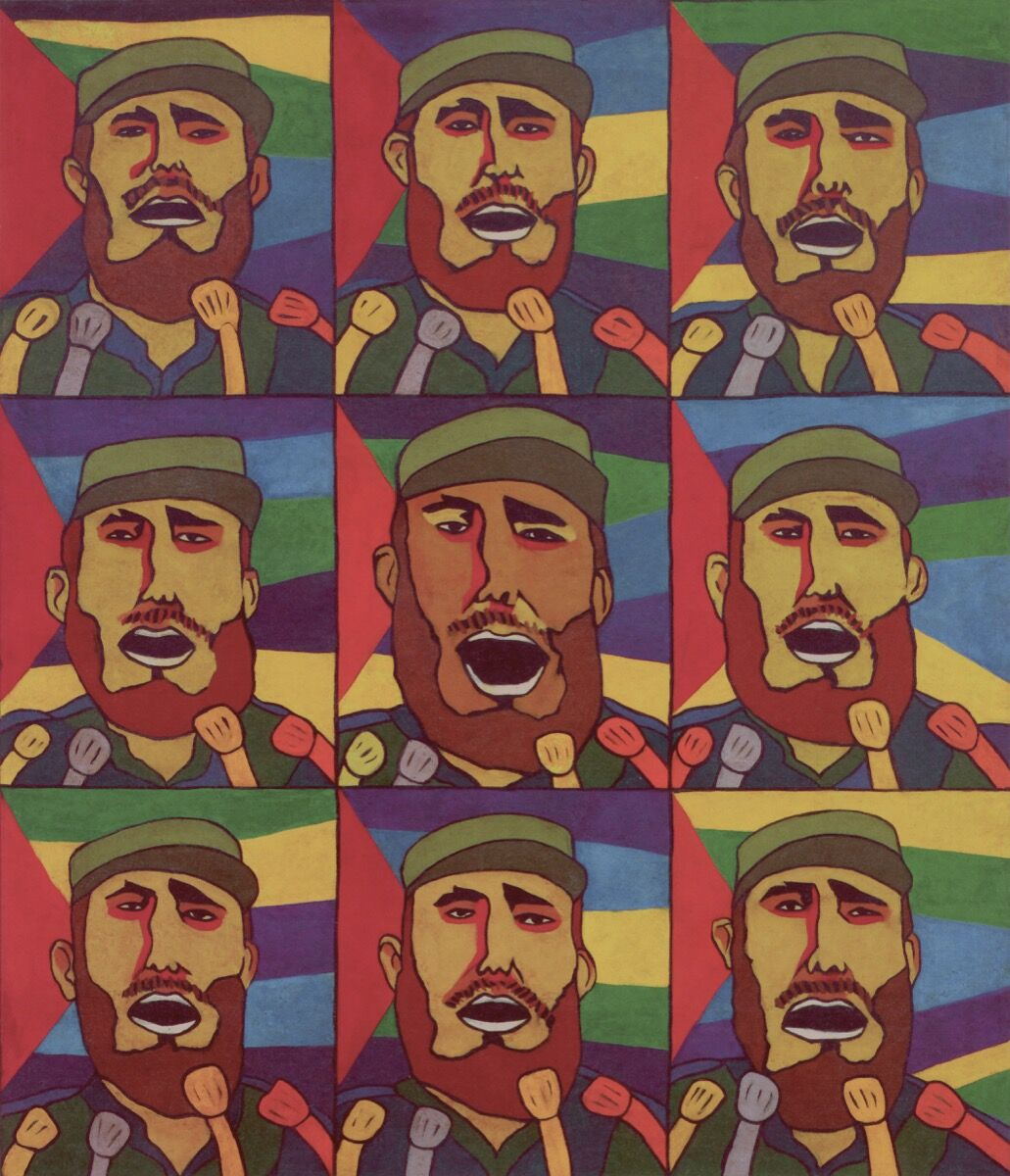 Raúl Martínez, 9 Repeticiones del Fidel con Micrófono [9 Repetitions of Fidel with a Microphone], 1968. © Archivo Raúl Martinez. Courtesy of the Walker Art Center.