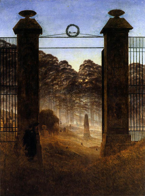 Caspar David Friedrich, The Cemetery Entrance, 1825. Image via Wikimedia Commons.