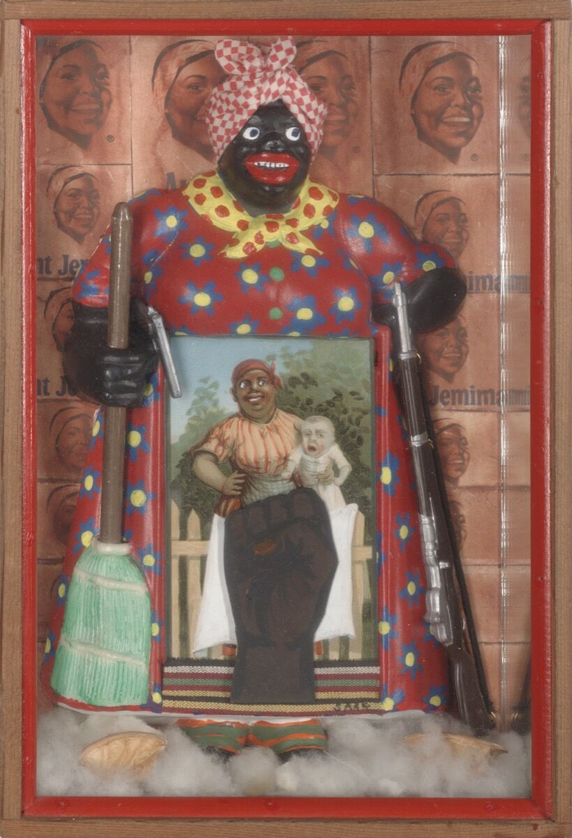 Betye Saar, The Liberation of Aunt Jemima, 1972. Berkeley Art Museum and Pacific Film Archive, Berkeley, California. Photo by Benjamin Blackwell. Courtesy of the artist and Roberts & Tilton, Los Angeles, California.