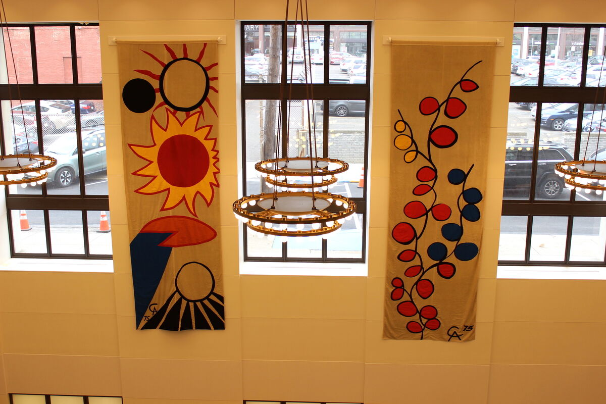 The Bicentennial Banners designed by Alexander Calder and executed by Sheila Hicks, back on view at the Free Library of Philadelphia. Courtesy of the Free Library of Philadelphia.