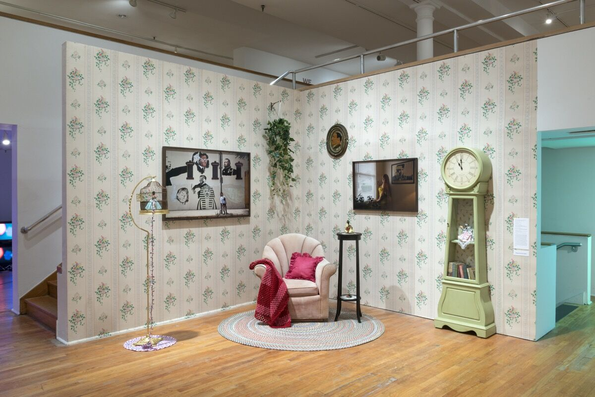 """Installation shot of Genevieve Gaignard's work in """"Fictions"""" at the Studio Museum. Courtesy of the Studio Museum."""