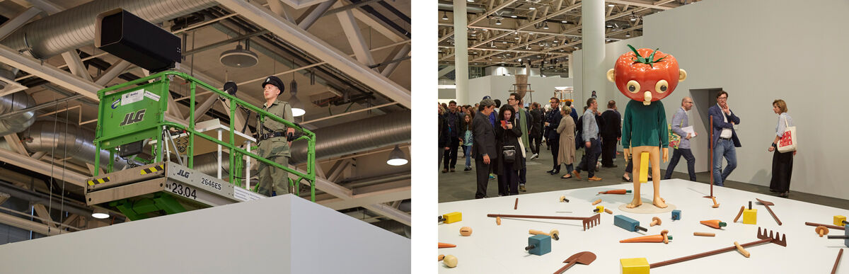 Left: Installation view of Samson Young, Canon, 2015, presented by Galerie Gisela Capitain at Art Basel Unlimited, 2016; Right: Installation view of Paul McCarthy, Tomato Head (Green), 1994, presented by Hauser & Wirth at Art Basel Unlimited, 2016. Photos by Benjamin Westoby for Artsy.