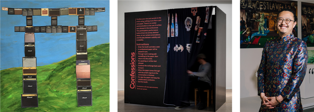 Images left to right: Nell, ROCK GATE, artist drawing. Courtesy the artist, STATION, Melbourne and Performance Space. Tony Albert, Confessions, 2019 installation. Image courtesy the artist, Dark Mofo and Sullivan+Strumpf, Sydney | Singapore. Photo Credit: Rèmi Chauvin.  Jason Phu in front of his presentation for Museum of Contemporary Art, Sydney's Primavera, 2018. Photo Credit: Jacquie Manning. Courtesy of the artist and Vermilion Art, Sydney