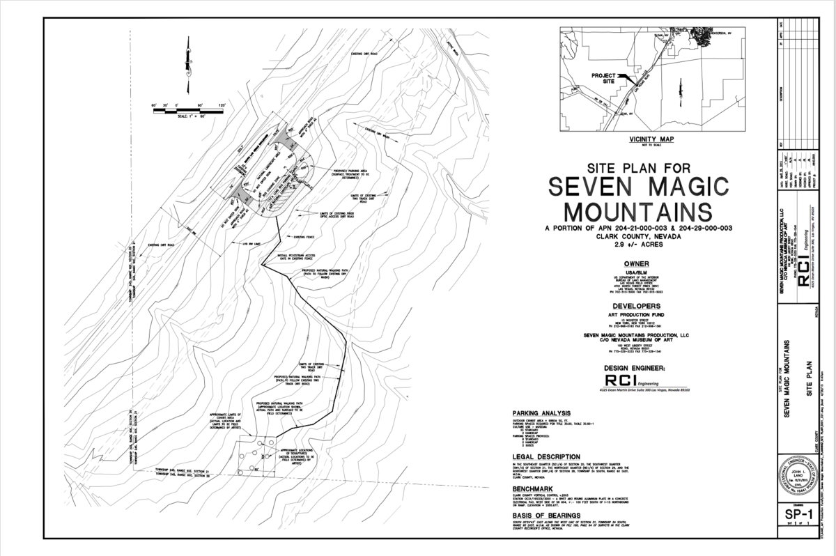Site Plan for Seven Magic Mountains from BLM Environmental Assessment.