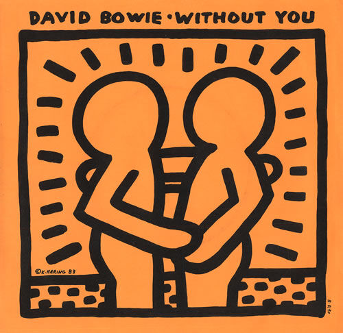 "Keith Haring's cover for ""Without You"" by David Bowie, 1983. © Keith Haring Foundation."