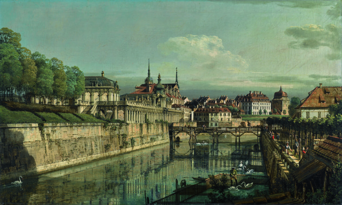 Bernardo Bellotto, Dresden a View of the Moat of the Zwinger, n.d. Courtesy of Sotheby's.
