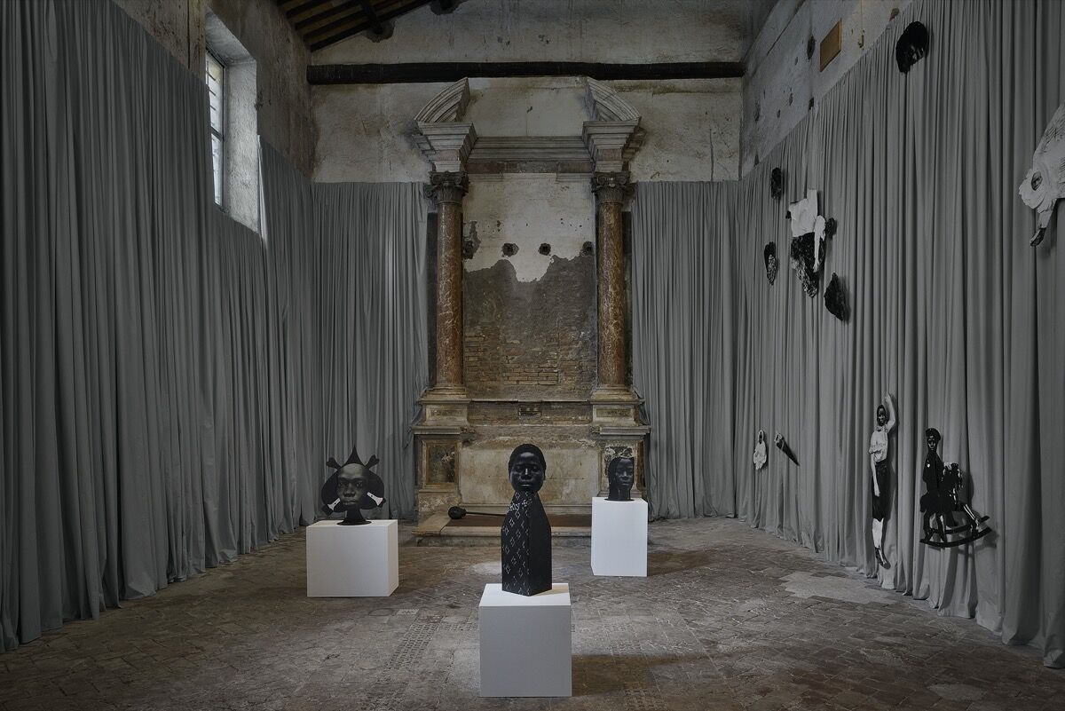 """Frida Orupabo, installation view of """"12 self portraits"""" at Sant'Andrea de Scaphis, Rome, 2020. Photo by Roberto Apa. Courtesy of the artist and Gavin Brown's Enterprise, New York/Rome."""