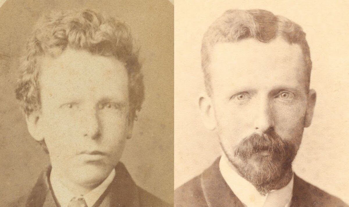 Left: Previously identified as Vincent van Gogh, aged 13, but after research identified as Theo van Gogh, aged 15. Photo by B. Schwarz, Brussels, courtesy the Van Gogh Museum, Amsterdam (Vincent van Gogh Foundation). Right: Theo van Gogh, aged 32. Photo by Woodbury & Page, Amsterdam, courtesy Van Gogh Museum, Amsterdam (Vincent van Gogh Foundation).