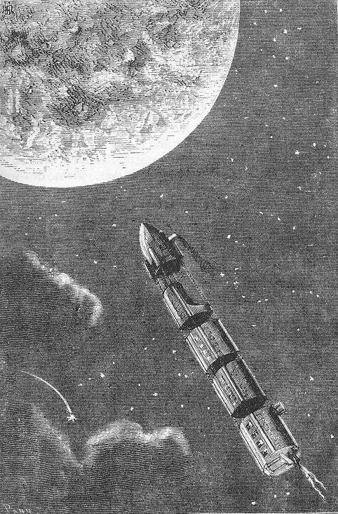 Henri de Montaut, an illustration from the novel From the Earth to the Moon by Jules Verne, 1868. Via Wikimedia Commons.