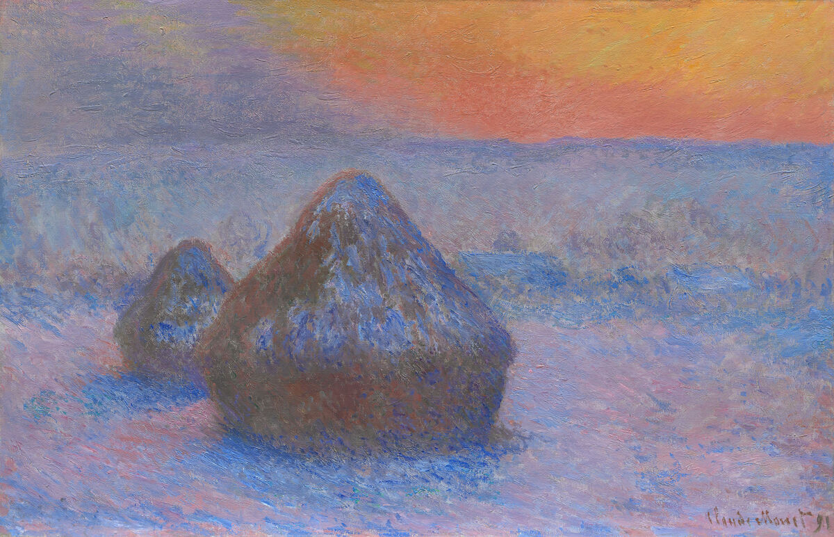 Claude Monet, Stacks of Wheat (Sunset, Snow Effect), 1890/91. Courtesy of the Art Institute of Chicago.