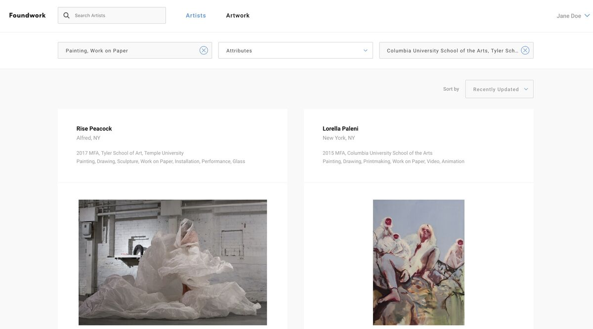 Screenshot of Foundwork.art's artist search page.