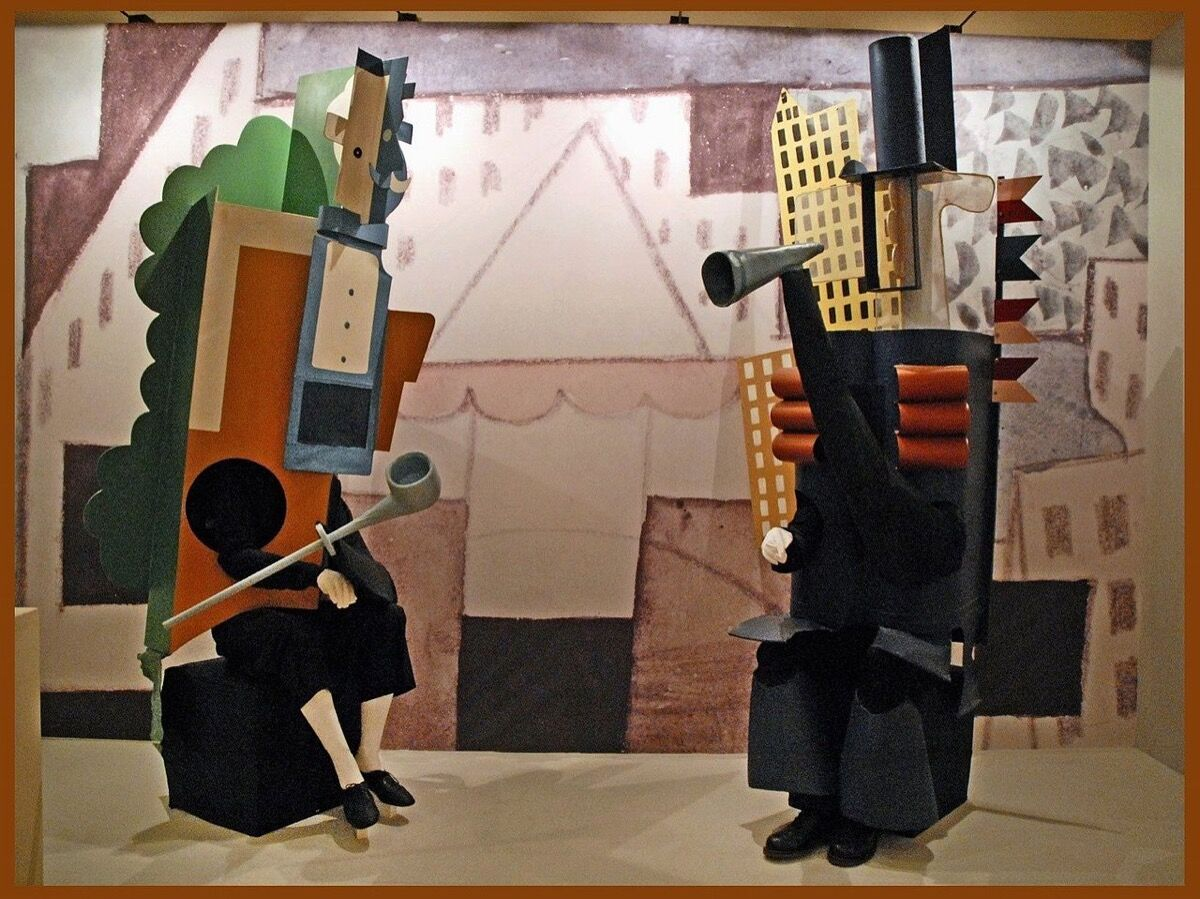 Set and costumes by Pablo Picasso for Parade, 1917. Photo via Wikimedia Commons.