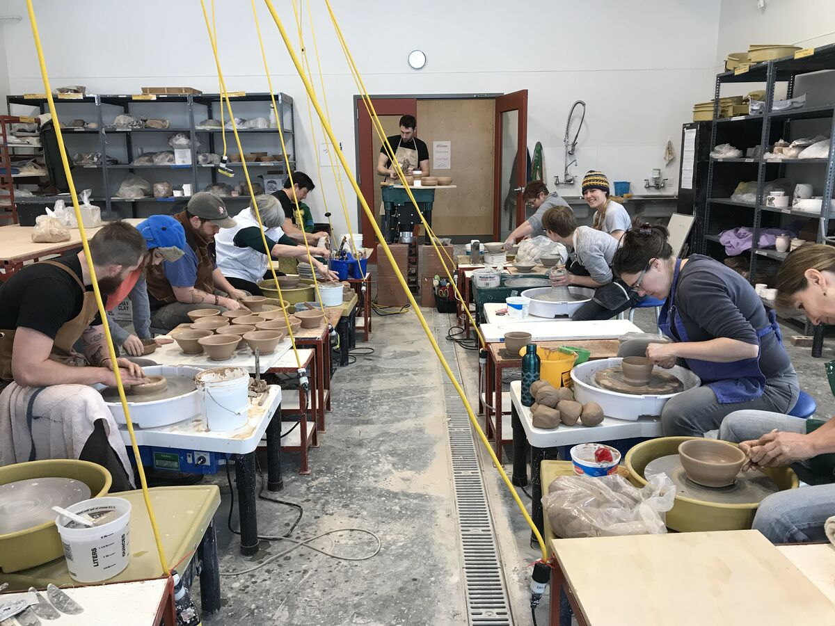 Class at the Archie Bray Foundation for the Ceramic Arts, Helena, MT. Courtesy of the Archie Bray Foundation for the Ceramic Arts .