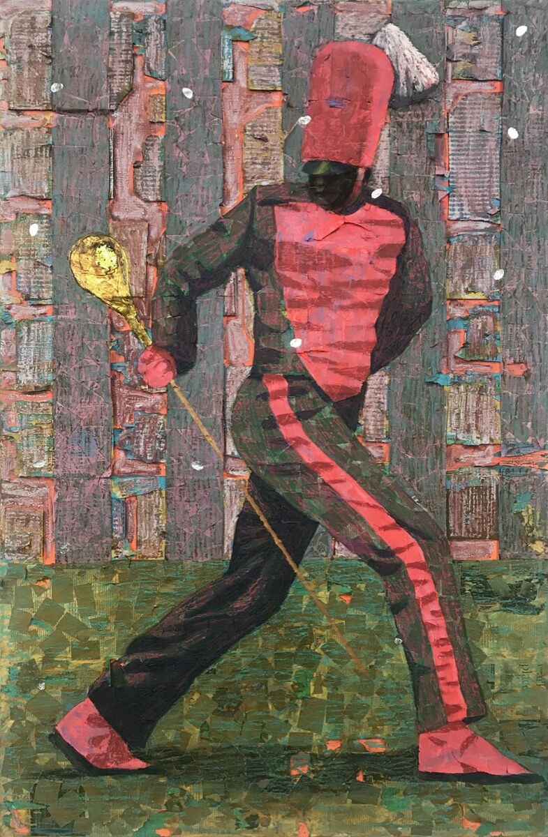 Derek Fordjour, Red Stripe Pivot, 2018. Courtesy of the artist.