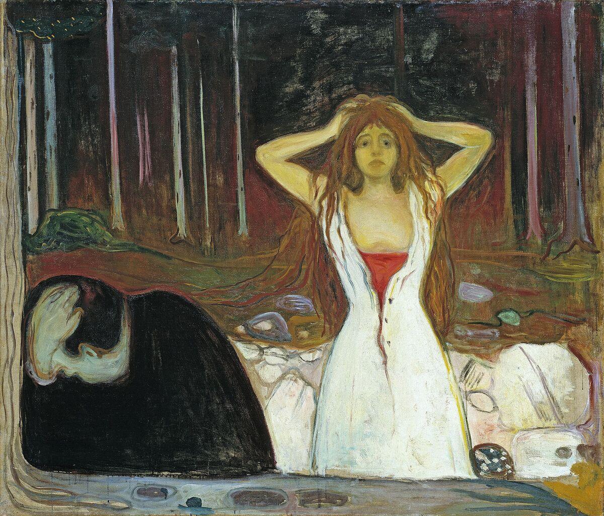 Edvard Munch, Ashes, 1895. Imagen a través de Wikimedia Commons.