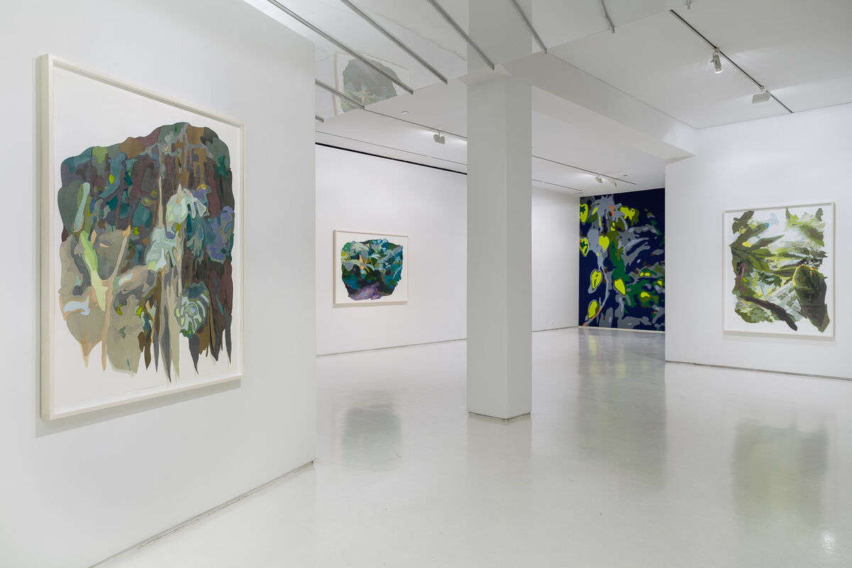 """Installation view of """"Naomi Reis: Paradise Constructed"""" at Mixed Greens, New York. Courtesy Mixed Greens and the artist. Photo byEtienne Frossard"""
