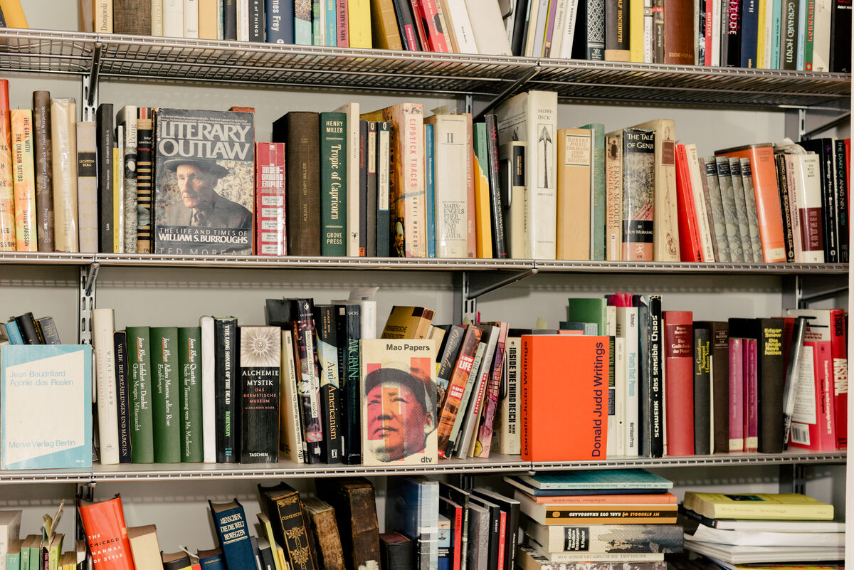 Photograph of Josephine Meckseper's bookshelf by Daniel Dorsa for Artsy.
