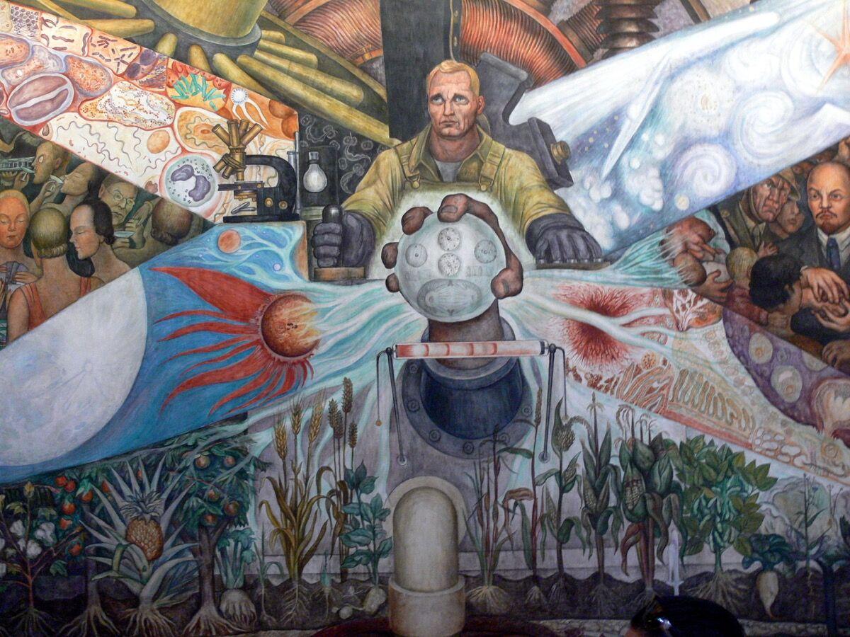 Diego Rivera, Man Controller of the Universe , 1934, at the Palacio de Bellas Artes, Mexico City. Photo by Wolfgang Sauber, via Wikimedia Commons.