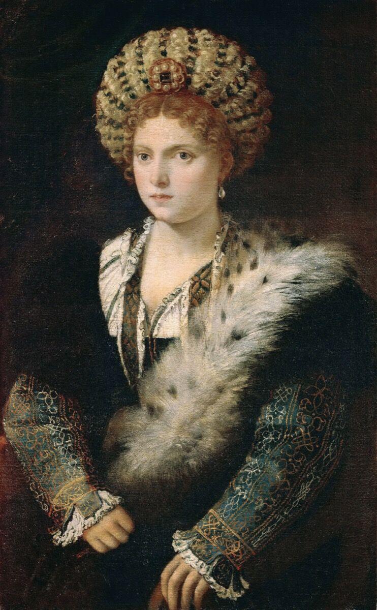 Tiziano, Retrato de Isabella d & # x27; Este, c.  1534-1536.  Imagen vía Wikimedia Commons.