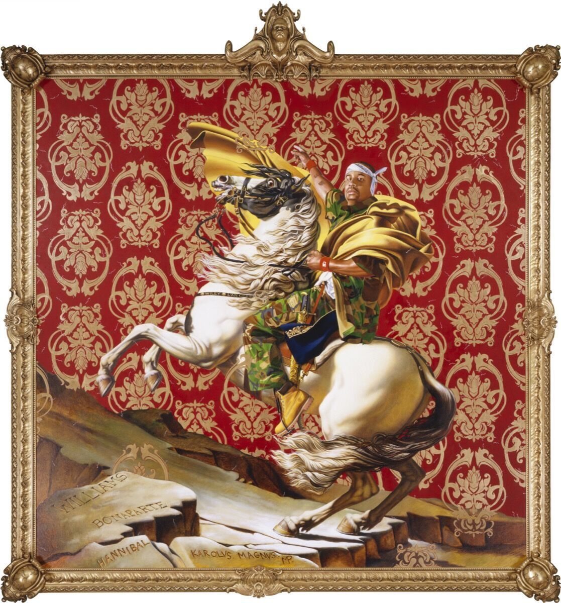 Kehinde Wiley, Napoleon Leading the Army over the Alps, 2005. Courtesy of Brooklyn Museum. © Kehinde Wiley. Courtesy of Prestel Publishing.