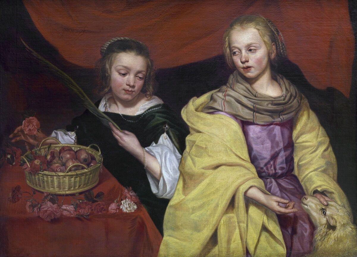 Michaelina Wautier, Two Girls as Saint Agnes and Saint Dorothea, 1643–59. Image via Wikimedia Commons.