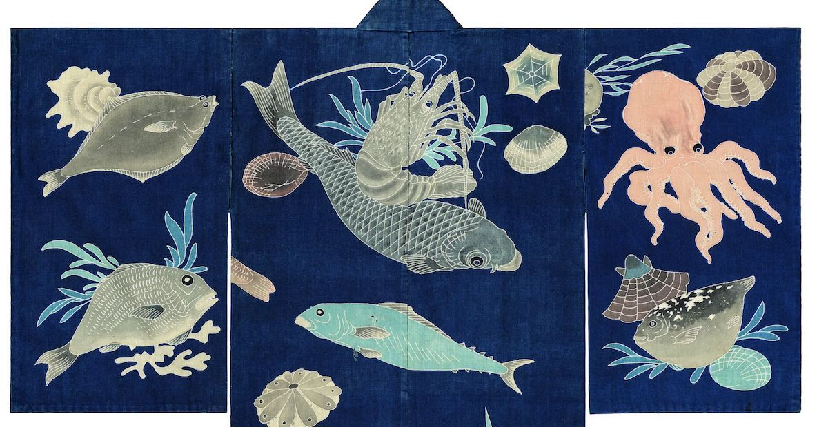 Dark blue-ground festival kimono decorated with sea creatures (detail), acquired from the collection of Thomas Murray. Courtesy the Minneapolis Institute of Art.